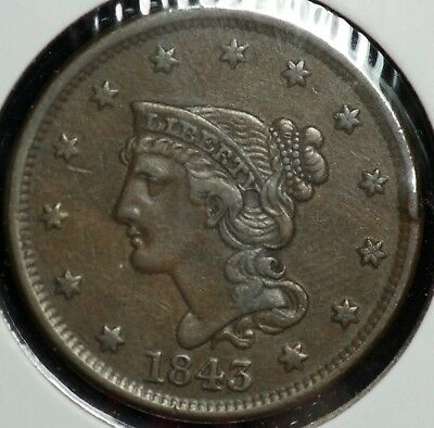 1843 Braided Large One Cent 1C Coin