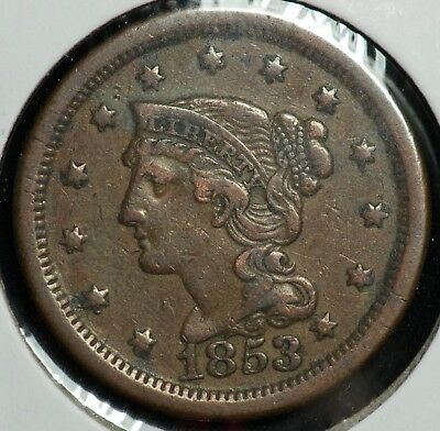 1853 Braided Large One Cent 1C Coin