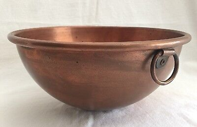 "Vintage Copper Beating Bowl 10.75"" Thick Wall Mixing"