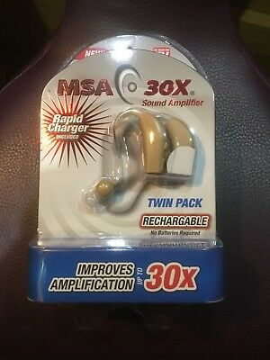 MSA 30X Sound Amplifier In Ear Hearing Aid Rapid Charger Rechargeable TWIN PACK