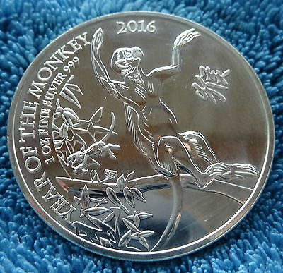 1oz 2 Pound England Lunar UK Monkey Affe  - 2016 - Silber