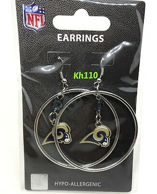 NFL Los Angeles Rams Hoop Earrings with Crystal Bead Dangle