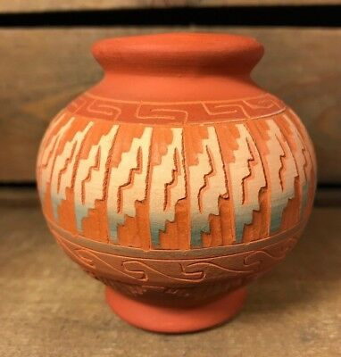 "Southwest Hand Etched Native American Navajo Pottery Signed S Benally~3"" Tall"
