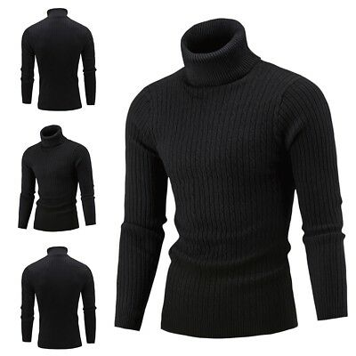 Men Winter Warm Sweater Slim Knit High Neck Pullover Jumper Turtleneck Solid Top