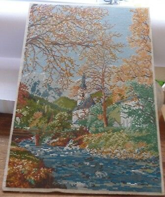 Hand Made Chapel Picture Goblin Tapestry,wall Hanging, Completed, Embroidery