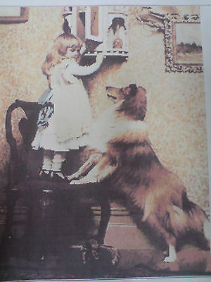 Hand Made Girl + Dog Picture Goblin Tapestry,wall Hanging, Complete, Embroidery