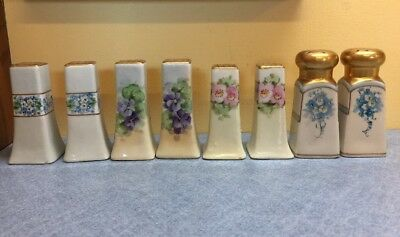 4 sets VINTAGE PORCELAIN SALT & PEPPER SHAKERS Floral Gold Trim HAND PAINTED