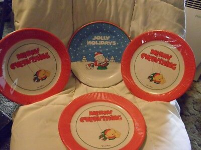 """4 Package of 9"""" Ziggy Christmas Paper Plates 1978 & 1981 MIP"""