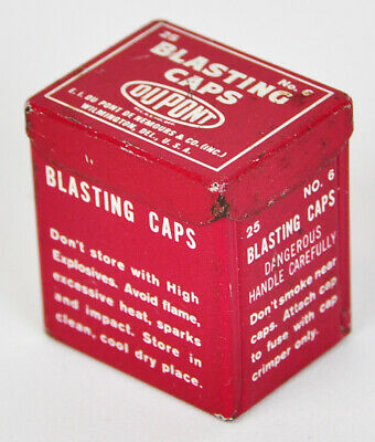 "Minature 25 Dupont Blasting Caps No. 6 Tin Box Mining 1 1/4"" 5/8"" 1/8"""