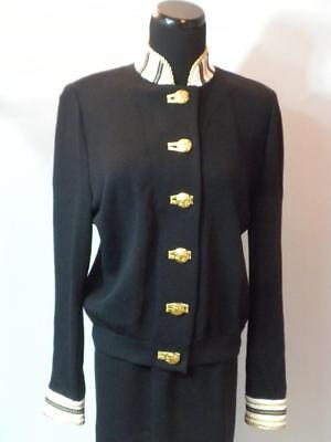 St John Collection Marie Gray Black White Gold Knit Sz M Jacket & Sz 12 Skirt