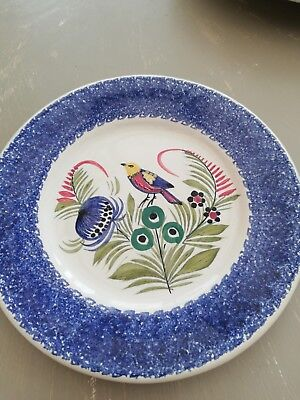 Hand painted bird plate by quimper signed on back