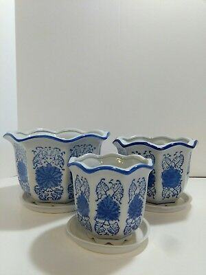 Ceramic Flower Plants, Blue and White Outdoor Indoor Planter Pots with Trays AC2