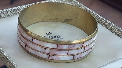 Vintage Art Deco Jewellery Beautiful Mother Of Pearl Shell Gold Bangle Bracelet