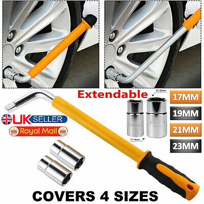 Extendable Telescopic Wheel Wrench Brace Car Van Socket Tyre Nut 17 19 21 & 23mm