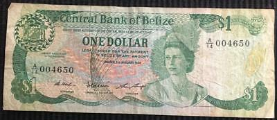 Belize $1 Central Bank of Belize Bank Note Dated 1 January 1987 Better Grade