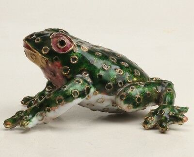 Vintage Chinese Cloisonne Enamel Statue Animal Frog Old Handmade Collection