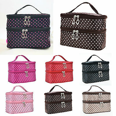 Large Polka Dot Makeup Bag Organizer Travel Cosmetic Box Cute Toiletry Bags Case