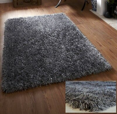 EXTRA LARGE THICK DENSE CHUNKY LONG PILE GREY MIX SOFT SHAGGY DESIRE RUG 200x290