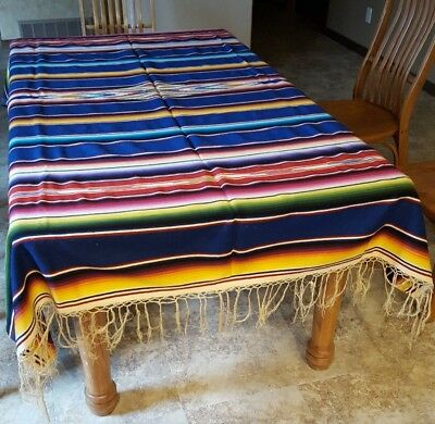 Mexican Tablecloth Rug Large Vibrant Colors