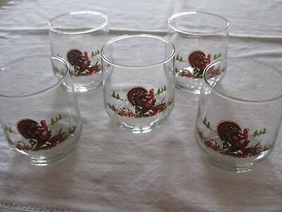 "VTG Set 5 ""WILD TURKEY"" Embossed Hi Ball Bar Glasses/History on Backs/Rare Find"
