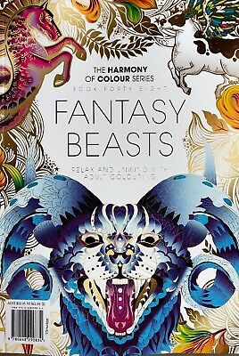 Harmony of Colour Book 48 Fantasy Beasts  - Adult Colouring 36 Designs - NEW