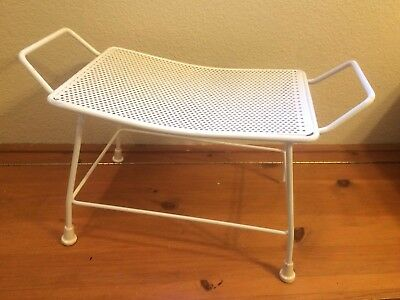 Mid Century Salterini wrought iron patio ottoman stool bench vintage metal white