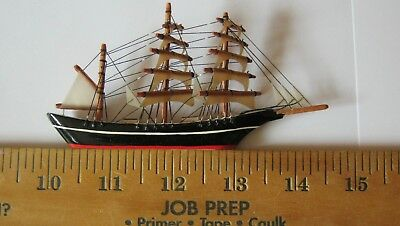 48 Hr SALE! Vintage Miniature Model 3-masted Ship Signed