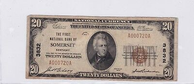 1929 Type 1 NBN $20 First National Bank Somerset KY S-2119 Fr# 1802-1 Note