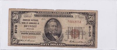 1929 Type 1 NBN $50 Guardian National Bank Detroit S-2176 Fr# 1803-1 Note