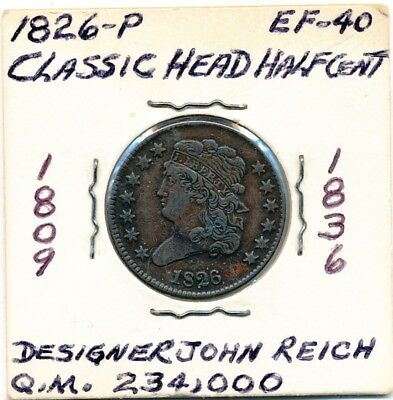 1826-P Classic Head Half Cent Opens At .99C - Free Shipping
