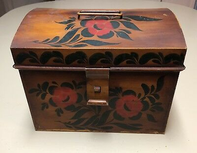 Vintage Toleware Large Document Box Signed Geo. Burton Mustard Yellow Gold Red