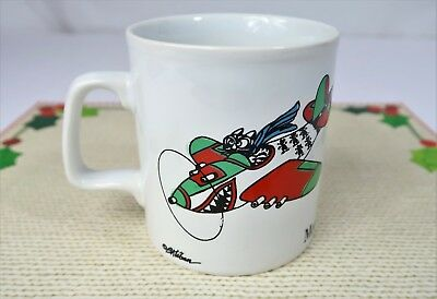 Vintage Kliban MOUSERSCHMIDT Airplane Coffee Mug Made in England