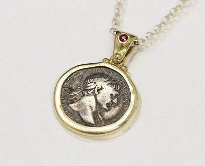 14K Gold pendant, Ruby, Genuine Ancient Silver Coin, Roman Trajan w/Cert - 073