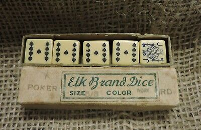 Antique Elk Brand 5 Poker Dice in Box, Nice & Original, Casino, Gambling, (VB)