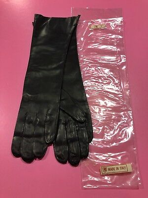 Vintage Italian Made Kid Leather Gloves Womens Size 7 1/2 - New In Original Bag!