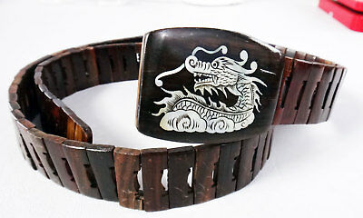 DRAGON mother of pearl INLAY wood snake belt real carved 34 32 30 vintage buckle