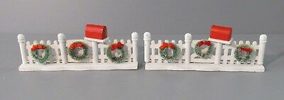 """Pair of """"White Picket Fence"""" Pieces w/ Wreaths & Mailboxes - Village Accessories"""