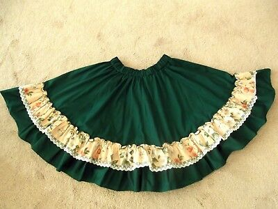 "Square Dance Skirt - Mondiki ~ Green/peach Ruffle~29""- 44"" Waist, 24"" Long"