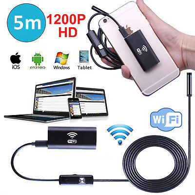 REAL 1200P WIFI Endoscope Wireless Borescope Inspection Cam For Android iPhone