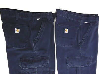 FR Carhartt Mens Navy Blue Dungaree Fit Cargo Work Pants 34x34 Flame Resistant