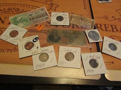 Collection Of Old U.s. Coins And Currency  Set # 5        W/1866 Fractional Curr