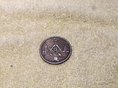 Vintage Made A Mason Masonic Coin- Entered-Passed-Raised- German Silver?