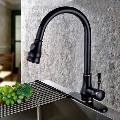 Single-Lever Pull-Out Sprayer One Hole Gooseneck Kitchen Faucet in Antique Black