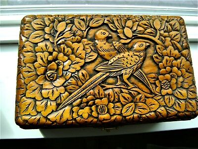 Exotic Hand Carved Wooden Jewelry Trinket Box Keepsake Storage Brass Closure
