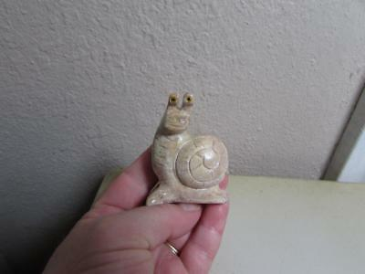 Snail, Hand carved Marble from the Andes. Unique Colored Stone Snail Carving