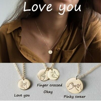 New Gestures Language Pendant Necklace Chain Best Friend Sister Necklaces Gifts