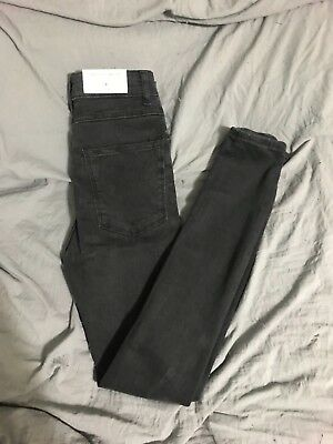 c8bd9db4cf BNWT ZARA SLIM Skinny High Waist Denim Jeans 02 Xs 23 24 Charcoal Gray Black