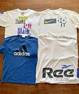 Vintage Wholesale Lot Adidas/Nike/Reebok Branded 90s Sport Tees T-Shirts Mix x 4