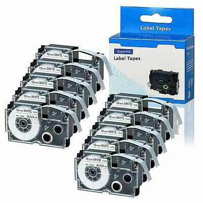 10X Compatible for Casio XR-12WE Label Tape Black on White 12mm KL-120 KL-60 430