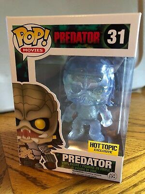 Funko Pop! Movies #31 CLEAR BLOODY PREDATOR Hot Topic Exclusive W Case Protector
